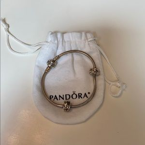 PANDORA bracelet with 2 non-moving charms
